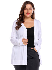 Involand Women  Plus Size Long Sleeve Solid Open Front Knit Cardigan White