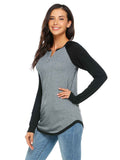 Meaneor Women Raglan Sleeve O Neck Patchwork Loose Pullover Tee Shirt