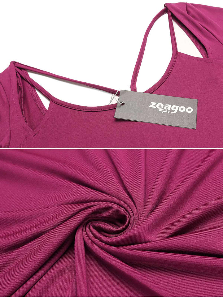 Zeagoo Women Spaghetti Straps  Cold the Shoulder Blouse