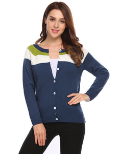 Meaneor Women Casual Threaded Cuffs and Hem Cardigan Sweater