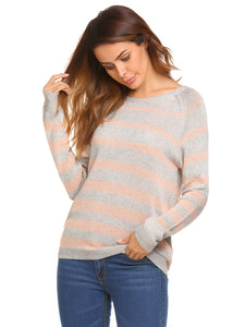 Zeagoo Women Casual Raglan Sleeve Striped Sweater