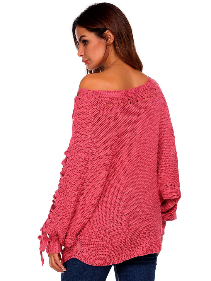 Meaneor Women Casual Slash Neck Solid Warm Sweater