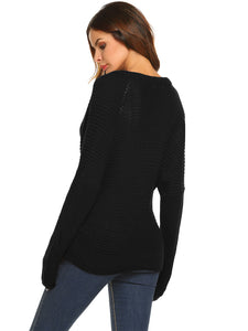 Women Casual Long Sleeve Solid Loose Wrap Front V-Neck Cable Knit Pullover Sweater