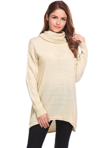 Women Casual Cowl Neck Ribbed Cable Knit Pullover Sweater