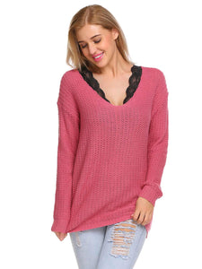 ACEVOG Women Casual V-Neck Long Sleeve Solid Warm Sweater