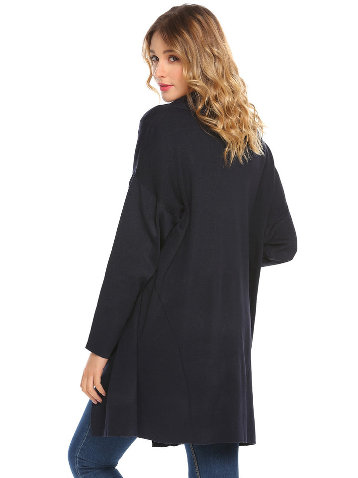 Zeagoo Women Casual Lapel Open Front Long Sleeve Solid Loose Cardigan