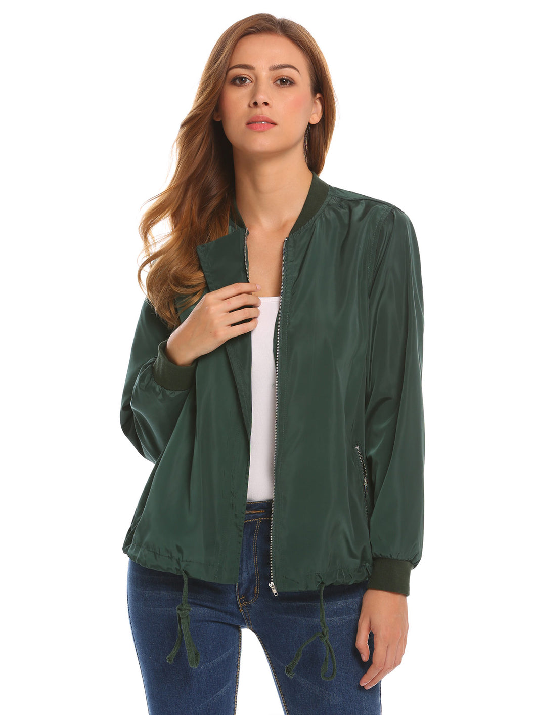 Zeagoo Women Hidden Zipper Bomber Jackets