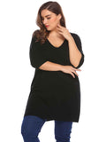 Involand Women V-Neck Half Sleeve Solid Casual Thin Knit Pullover Sweater Plus Size
