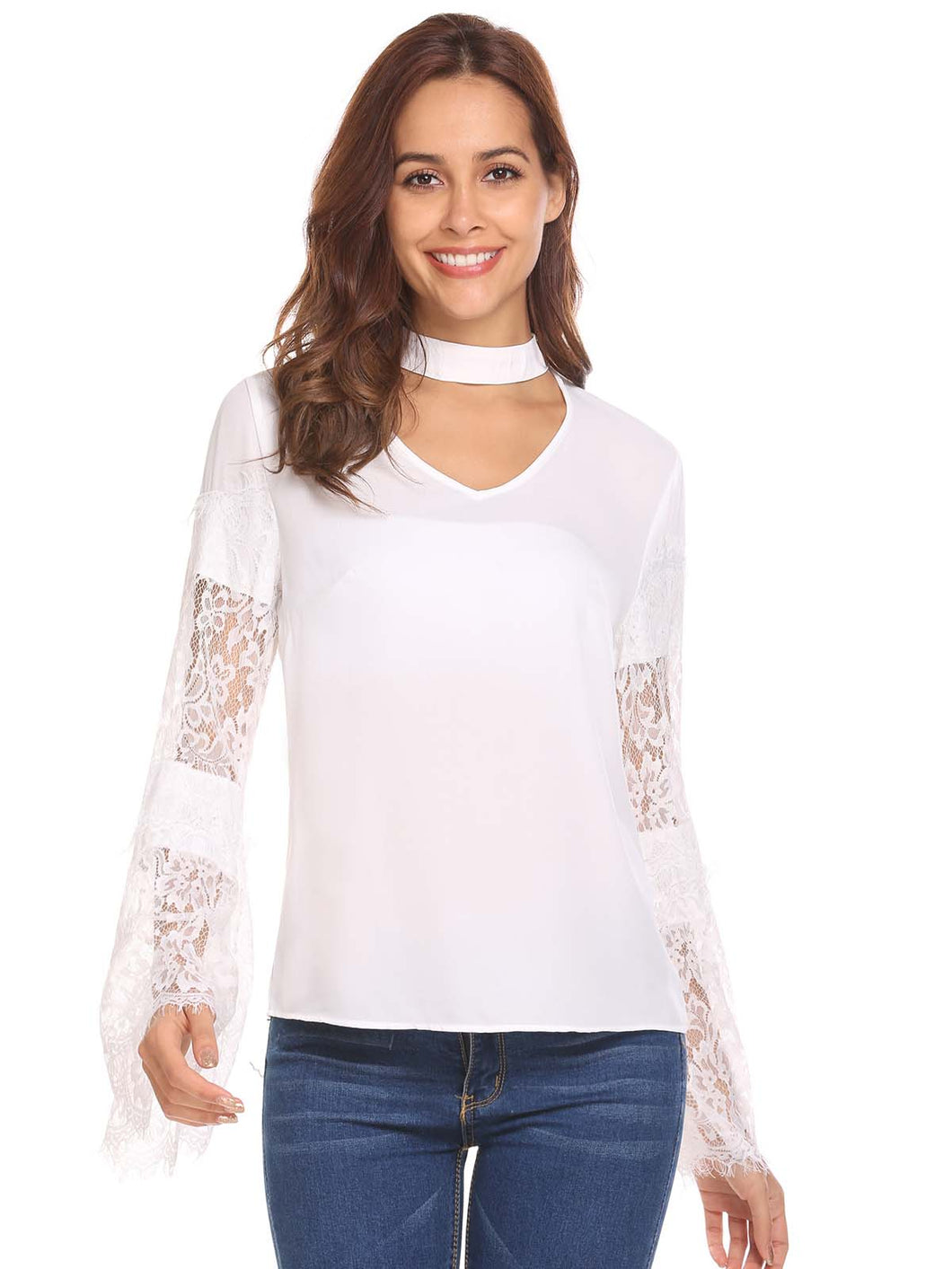 Meaneor Women Choker V Neck Lace Patchwork Chiffon Loose Blouse
