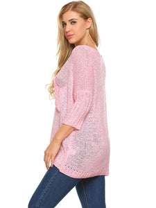 Zeagoo Women V-Neck Knit Pullover Pocket Sweater