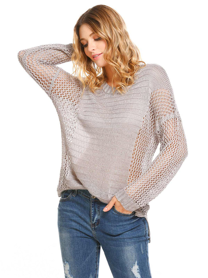 Zeagoo Women Casual O-Neck Long Sleeve Solid Hollow Out Split and Asymmetrical Hem Sweater