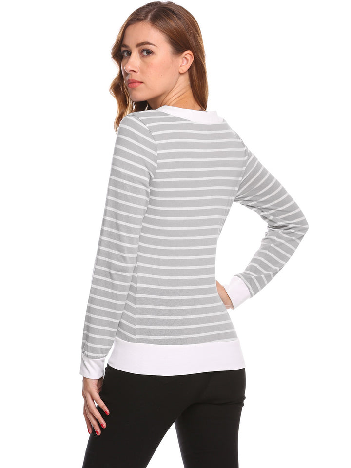 Meaneor Women Soft Long Sleeve Striped Cardigan