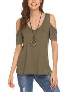 SE'MIU Women Cold Shoulder Short Sleeve Solid V Neck Top