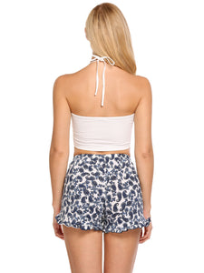 Ekouaer Pajamas Set Halter Sleeveless Crop Top