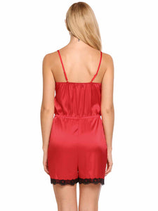 Ekouaer Women Strapy Sleeveless Lace-Trim Satin Sleepwear
