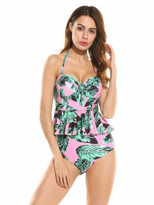 Ekouaer Women  High Waisted Pink Figure-shaping Bikini Set