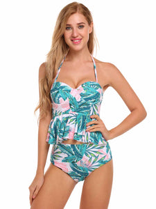 Ekouaer Women Sexy Strapless High Waisted Floral Figure-shaping Bikini Set