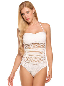 Ekouaer Women Crochet Lace Halter Straps One Piece Swimsuits Bathing Suit