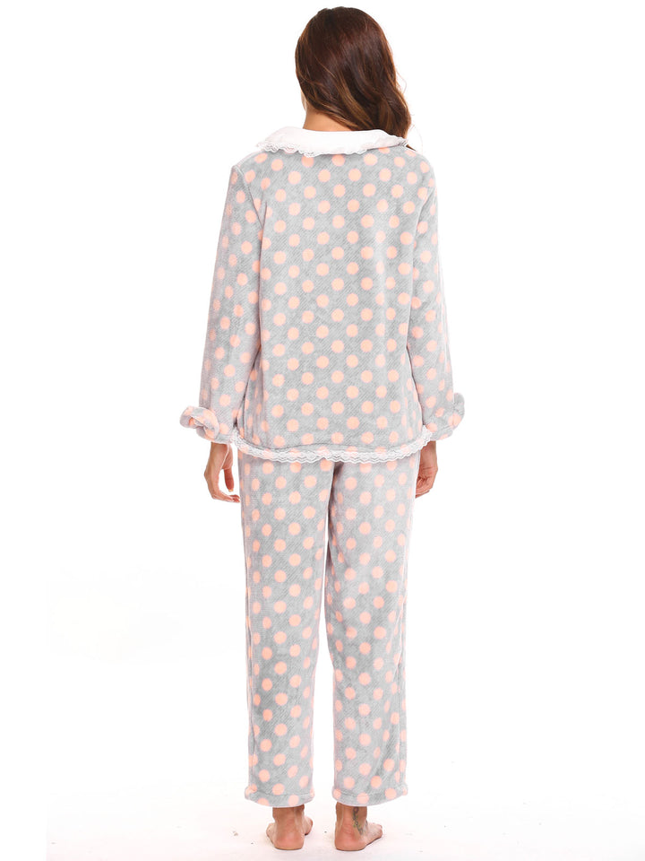 Ekouaer Women Two Pieces Plush Pajamas Set