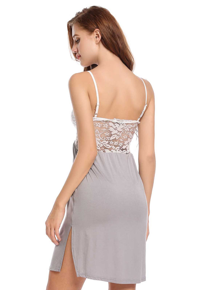 Ekouaer Women V-Neck Spaghetti Straps Lace Sleepwear Dress