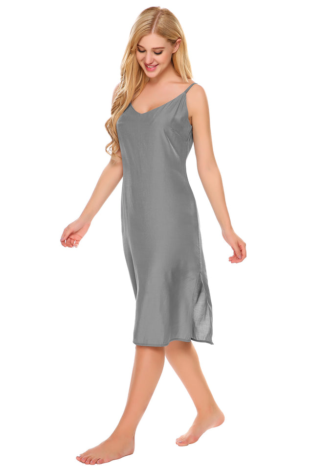 Ekouaer Women V-Neck Spaghetti Strap Solid Split Hem Pullover Sleepwear Dress