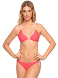 Ekouaer Women Sexy Contrast Color Tie Side Bottom Triangle Split Bikini Set