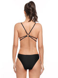 Ekouaer Women Padded Elastic Backless One Piece Bikini