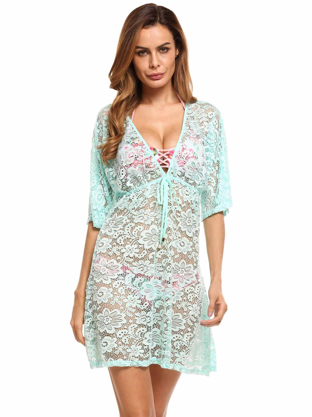 Ekouaer Women ollow Out A-Line Beach Swim Cover-up