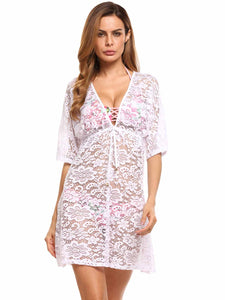 Ekouaer Women Half Sleeve Hollow Out A-Line Beach Cover-up