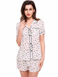 Ekouaer Womens Print  Button-Down Collar Nightwear Pajamas Set