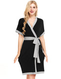 Womens Sleeveless Solid Contrast Color Loose Robe With Belt