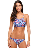 Ekouaer Women Sexy Two Pieces Halter Bikini Set Printing Swimwear Beach Wear