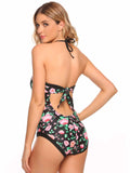 Ekouaer Women Sexy Padded Backless One Piece Swimsuit