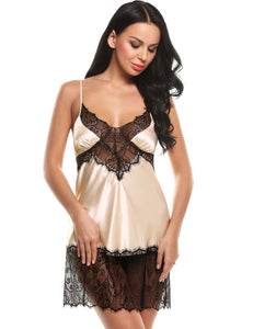 Womens Patchwork V Neck Lace Nightgown