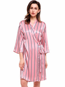 Ekouaer Womens 3/4 Sleeve Striped Kimono Robe With Belt