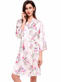 Ekouaer Womens 3/4 Sleeve Print Kimono Robe With Belt