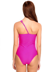 Zeagoo Women One Shoulder Ruffle One Piece Padded Swimsuit Rose Red