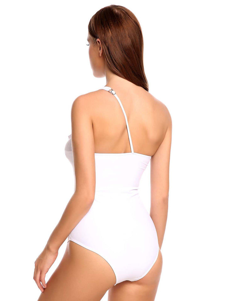 Zeagoo Women One Shoulder Ruffle One Piece Padded Swimsuit White