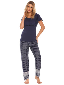 O-Neck Ruffle Sleeve  Long Pants Pajamas Sets