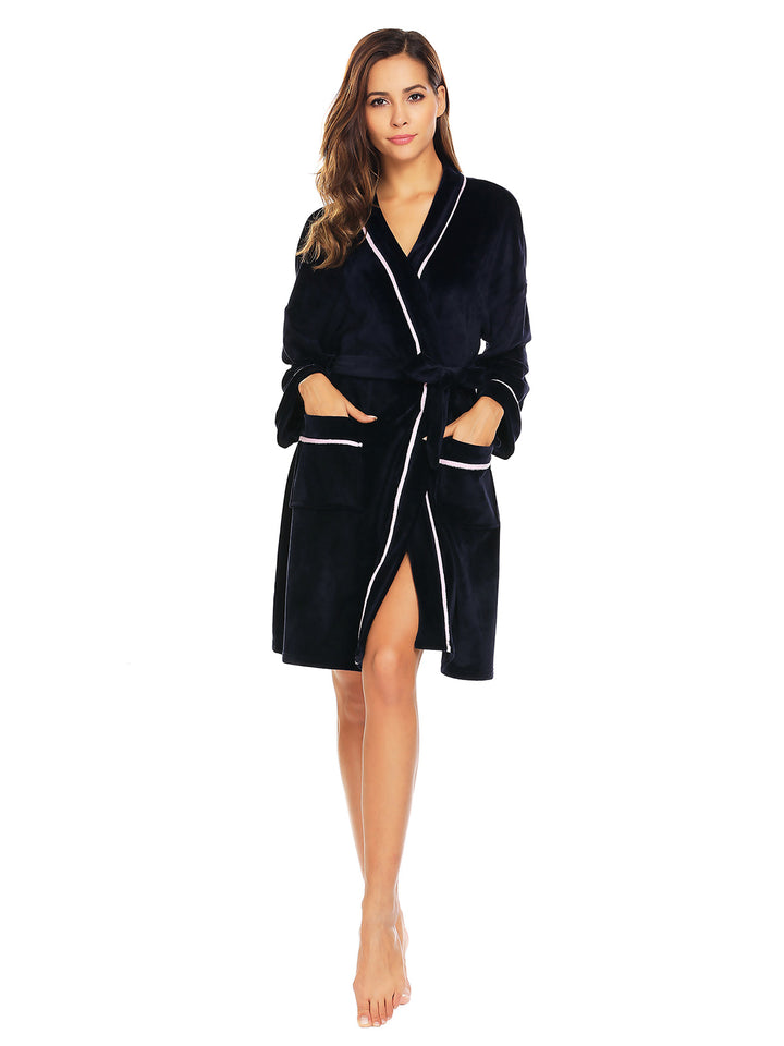 Ekouaer Women Plush Long Sleeve Sleep Robe with Belt