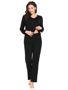 Ekouaer Women Soft Sleepwear V-Neck Knits Pajama Set