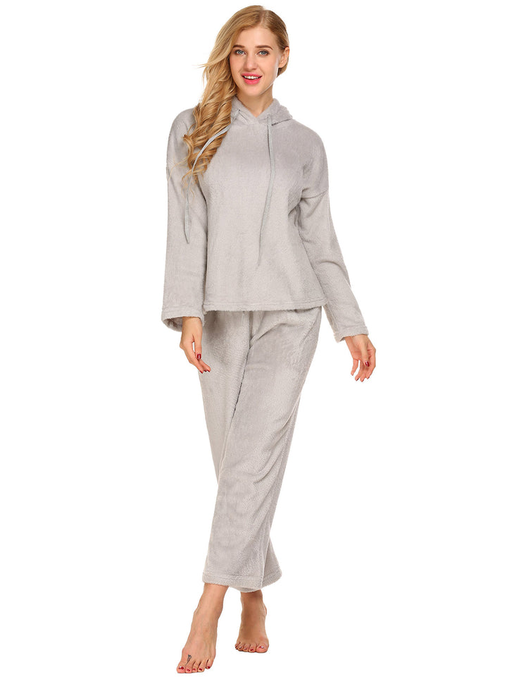 Ekouaer Women 2 Piece Fleece Hooded Lounge Wear Set