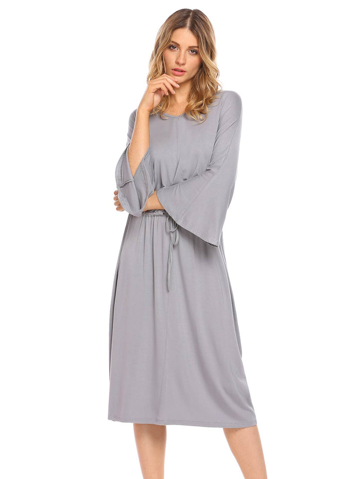 Ekouear Women Sleepwear V-Neck Drawstring Solid Midi Nightdress