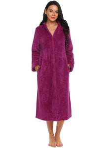 Ekouaer Women Hooded Solid Fleece Bathrobe