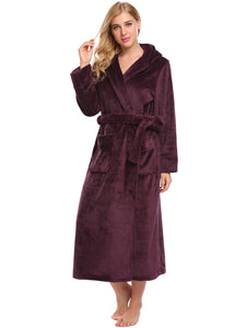 Ekouaer Women Hooded Solid Fleece Bathrobe with Belt