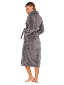 Ekouaer Women Plush Fleece Shawl Collar Bathrobe w/Belt