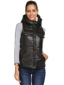 Coorun Women Solid Winter Vest Coat Detachable Hood Outwear