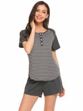 Ekouaer Women Round Neck Short Sleeve Striped Pajamas Set