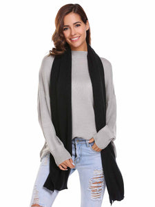 Zeagoo Soft Solid Black Knitted Scarves Collar