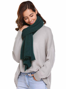 Zeagoo Soft Solid Olive Green Knitted Scarves Collar